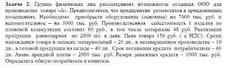 Задача 2. Группа физических лиц рассматривает возможность создания ООО для производства товара «А». Предполагается, что предприятие разместится в арендованных помещениях. Необходимо приобрести оборудование (основное) на 7000 тыс. руб. и вспомогательное - на 3000 тыс. руб. Производственная себестоимос