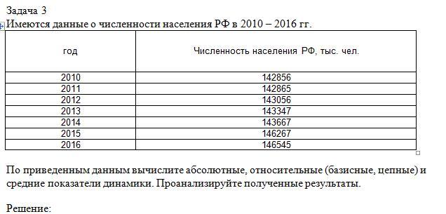 Задача 3Имеются данные о численности населения РФ в 2010 – 2016 гг.год Численность населения РФ, тыс. чел.2010 1428562011 1428652012 1430562013 1433472014 1436672015 1462672016 146545По приведенным данным вычислите абсолютные, относительные (базисные, цепные) и средние показател