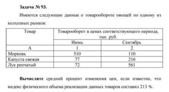 Имеются следующие данные о товарообороте овощей по одному из колхозных рынков: Товар Товарооборот в ценах соответствующего периода, тыс. руб. Июнь Сентябрь