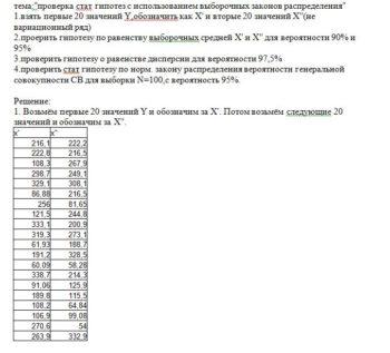 """тема:""""проверка стат гипотез с использованием выборочных законов распределения"""" 1.взять первые 20 значений Y,обозначить как X' и вторые 20 значений X''(не вариац"""