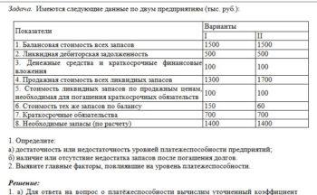 Имеются следующие данные по двум предприятиям (тыс. руб.): Показатели Варианты I II 1. Балансовая стоимость всех запасов 1500 1500 2. Ликвидная дебиторская зад