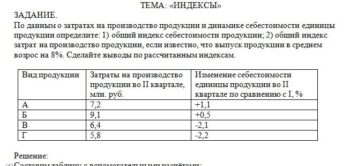По данным о затратах на производство продукции и динамике себестоимости единицы продукции определите: 1) общий индекс себестоимости продукции; 2) общий индекс з