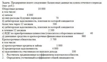 Задача. Предприятие имеет следующие балансовые данные на конец отчетного периода (тыс. руб.): Оборотные активы 10 000 в том числе: а) запа