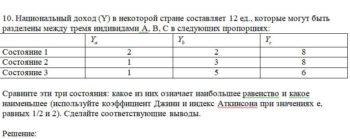 10. Национальный доход (Y) в некоторой стране составляет 12 ед., которые могут быть разделены между тремя индивидами А, В, С в следующих пропорциях: Состояние 1