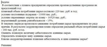 В соответствии с планом предприятия определена производственная программа на предстоящий год: плановый объем потребления сырья составлял 220 тыс. руб. в год; у