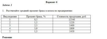 1. Рассчитайте средний процент брака в целом по предприятию: Вид изделия Процент брака, % Стоимость продукции, руб. 1 0,5 12540 2 1,5 1220 3 2,5 1400 4 3,9 1809
