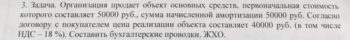 Организация продает объект основных средств, первоначальная стоимость которого составляет 50000 руб., сумма начисленной амортизации 50000 руб. Согласно договору
