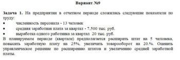 На предприятии в отчетном периоде сложились следующие показатели по труду: • численность персонала - 13 человек • средняя заработная плата за квартал - 7,500 ты
