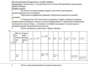 1. На основе исходных данных задания 1 рассчитать дисперсию и среднеквадратическое отклонение. 2. Определить коэффициент вариации. Определить надежность средней
