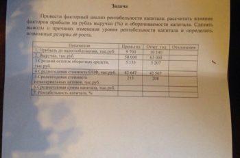Задача Провести факторный анализ рентабельности капитала: рассчитать влияние факторов прибыли на рубль выручки (%) и оборачиваемости капитала. Сделать выводы о