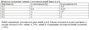 Имеются следующие данные о доходности акций фирм А и Б. Вероятность А доходность (%) Б доходность (%) 0,1 0 -0,5 0,2 0,5 -0,25 0,4 1 1,5 0,2 2 3 0,1 3 4 Найти о