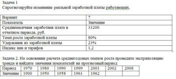 Спрогнозируйте изменение реальной заработной платы работающих. Вариант 7 Показатель Значение Среднемесячная заработная плата в отчетном периоде, руб. 33200 Темп