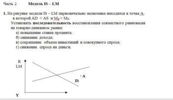 На рисунке модели IS – LM первоначально экономика находится в точке А, в которой AD < AS и Md > MS. Установить последовательность восстановле